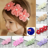Kids Baby Girls Children sweet Chiffon Lace Flowers wedding Hair Head band PROP