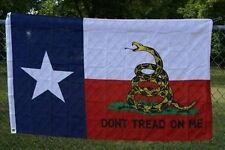 Texas DON'T TREAD ON ME State Flag 3x5 ft Gadsden Rattlesnake TX Coiled Snake