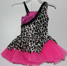 NWOT Girls CICCI Pink & Leopard Print Dance Costume Tutu Outfit Size Child Small