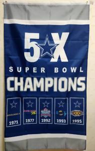Dallas Cowboys Super Bowl Champions 5X Flag 3X5 FT NFL Banner Polyester