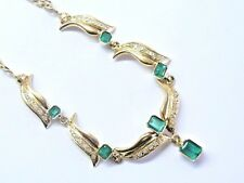 """18Kt Colombian Green Emerald & Diamond Yellow Gold Necklace 2.60Ct 22"""""""