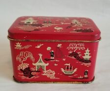 Vintage Asian Red Metal Candy Tin Hawkes of Chelmsford England