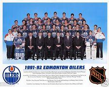1991-92 EDMONTON OILERS NHL HOCKEY TEAM 8X10 PHOTO PICTURE
