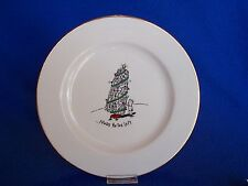 "Merry Masterpiece More to Left Pisa Tower 8 1/4"" Plate Gold Rim CHRISTMAS  25A"