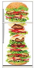 Sticker frigo électroménager déco cuisine Hamburger géant 70x170cm réf 1682