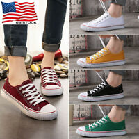 Womens Girls Classic Lace Up Canvas Shoes Casual Comfort Sneakers Athletic S15