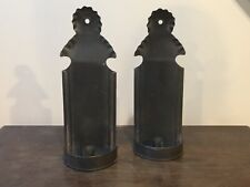 New listing Primitive Folk Art Pair Tin Wall Candle Sconces Crimped