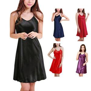 Women Sexy Silk Satin Nightdress Sleeveless Nighties V-neck Nightwear Casual