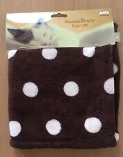 BRAND NEW, PETS AT HOME, CHOCOLATE BROWN, SPOTTED, FLEECY LAP MAT FOR CAT