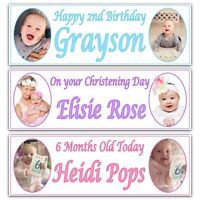2x Personalised Birthday Banners Photo Children Baby Adult Party Poster banner