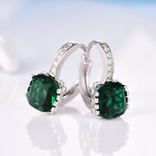 Retro Princess Green Emerald Gemstone 18K White Gold Filled Hoop Stud Earrings