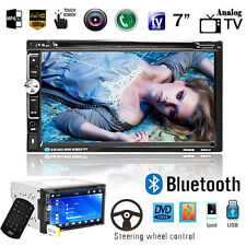 """7"""" HD Double 2DIN Touch Bluetooth Car Radio Stereo DVD MP3 Player FM/USB/TF/AUX"""