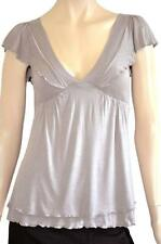 PILGRIM SZ 6 PETITE WOMENS Dark Beige V Neck Tiered Hem Flutter Short Sleeve Top