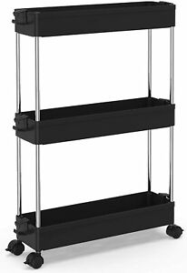 3-tier kitchen trolley, narrow trolley alcove shelf with casters, space-saving
