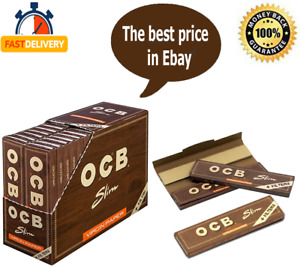 OCB Brown Virgin King Size Filter +Tips Unbleached Rolling Papers 16 Booklets