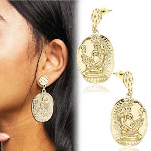 Egyptian Ankh Goddess Isis Snake Dangle Ear Studs Earrings Gold Revival Costume