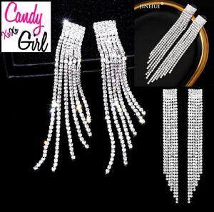 Stunning Long Silver Crystal Diamante Rhinestone Tassel Occasion Earrings