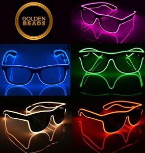 EL Wire Neon LED Light Sunglasses Eyewear Shade Nightclub Halloween Clear Led