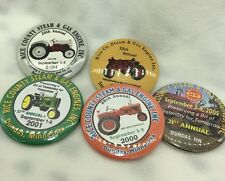 Lot of 5 Rice County Steam & Gas Engine Annual Pin Buttom Tractor DUNDAS MN