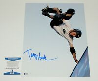 TONY HAWK SKATEBOARD LEGEND SIGNED 11x14 PHOTO BECKETT COA PRO SKATER 900 BAS