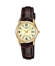 Casio Women's Brown Leather Strap Watch, Champagne Dial, Date, LTP-V002GL-9B