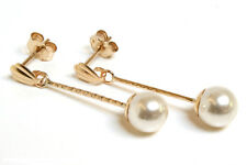 9ct Gold Pearl Earrings ball drop Made in UK Gift Boxed