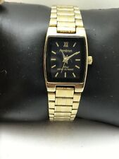 WOMEN'S ARMITRON NOW ANALOG WATCH GOLD TONE BAND BLACK DIAL W/R 75/2346-H36
