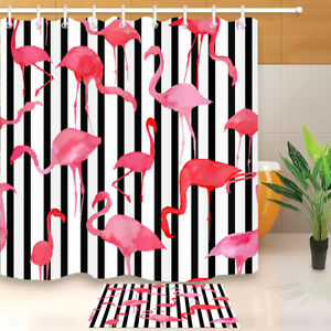 Shower Curtain Bathroom Mat Waterproof Black & White Stripes Watercolor Flamingo
