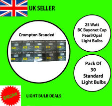 PACK OF 30 CROMPTON 25W BC OPAL LIGHT BULBS PEARL STANDARD OLD FASHION BULB NEW