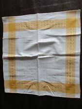 8 schöne alte Halbleinen Servietten gelbe Bordüre ( 27)