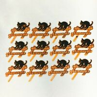 (12) Vintage Halloween SCARY BLACK CAT on FENCE Cupcake Picks Cake Toppers NOS