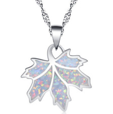 Fashion Silver Imitation Opal white Leaves Pendant Necklace Marriage jewelry