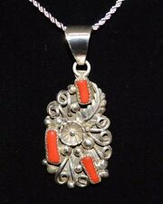 Necklace Native American Coral Pendant & Sterling Silver Flower Design Navajo KJ