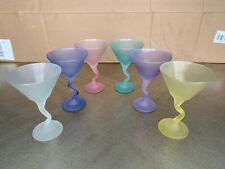 SET OF 6 MULTICOLORED MARTINI GLASSES Z- STEM FROSTED - Free Shipping