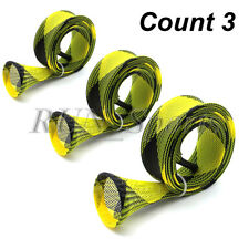 Count 3 Casting Fishing Rod Sleeve Rod Cover Pole Sock Jacket Yellow and Black