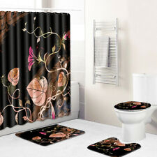 Morning Glory Bathroom Rug Set Shower Curtain Non-Slip Toilet Lid Cover BathMat