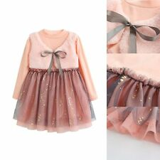 Toddler Baby Girls Kids Cotton Clothes Long Sleeve Party Princess Tutu Dress
