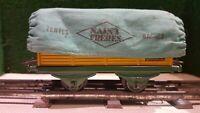 HORNBY échelle o wagon tombereau herse avec bâche jouet ancien vintage