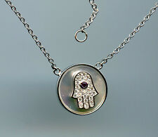 925 STERLING SILVER, MOTHER OF PEARL, CZ & SAPPHIRE HAMSA NECKLACE
