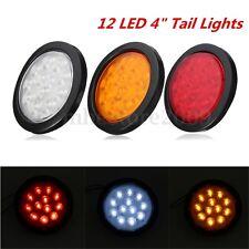 "12 LED 4"" Round Truck Trailer Brake Stop Turn Rear Tail Lights Waterproof"