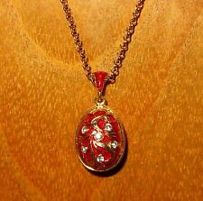 Russian FABERGE inspired Gold Red ENAMEL Swarovsky Crystals flowers EGG pendant
