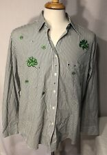 Vintage Las Olas Saint Patrick Studded Shirt SZ Large Women White Green