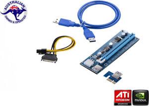 PCIE PCI-E Express 1x To 16x Extender Riser Card Adapter 6 Pin Power USB 3.0