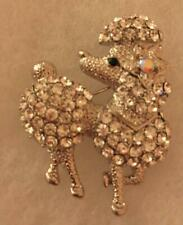 Silver Plated with Clear and Aurora Borealis Crystal Poodle Dog Pin Brooch