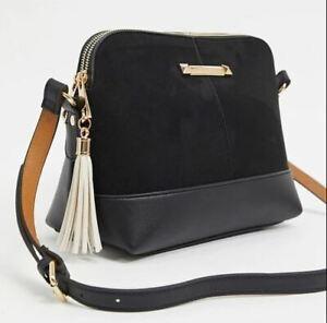 River Island Boho Black Satchel/Messenger/Shoulder Bag/Tote/Purse + Tassel