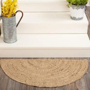 Rug Half Moon 100% Natural Braided jute Reversible rustic look Area Carpet Rugs