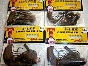 (LOT OF 4) STRIKE KING J-LEE COMEBACK JIG 3/4 OZ  JLCJ34-244 IN BROWN COLOR