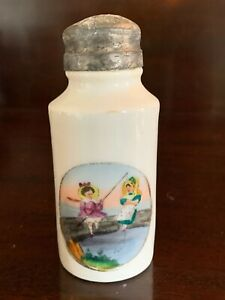 Antique Victorian Salt Shaker White Glass Ironstone Pottery Hand Painted Scene