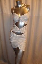 Sexy Bianco Sporco tagliata davanti schiena scoperta stretch Club/Party Mini Dress One S 8-10