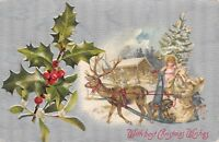 Christmas~White Robed Santa~Single Reindeer Sleigh~Decorated Tree~Silver Back